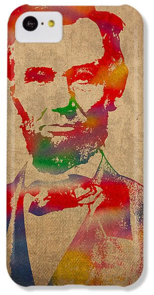 Portraits iPhone 5c Case - Abraham Lincoln Watercolor Portrait On Worn Distressed Canvas by Design Turnpike
