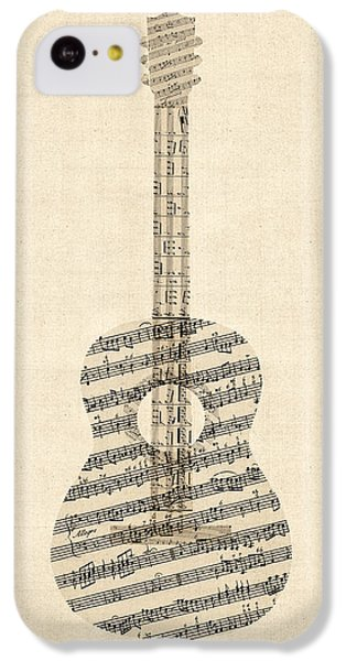 Guitar iPhone 5c Case - Acoustic Guitar Old Sheet Music by Michael Tompsett