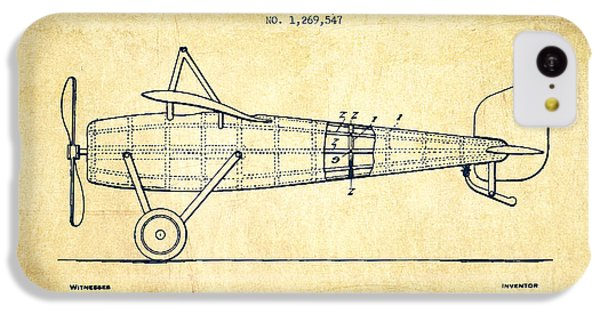Airplane Patent Drawing From 1918 - Vintage IPhone 5c Case by Aged Pixel