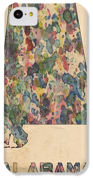 Alabama Map Vintage Watercolor IPhone 5c Case