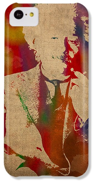 Portraits iPhone 5c Case - Albert Einstein Watercolor Portrait On Worn Parchment by Design Turnpike