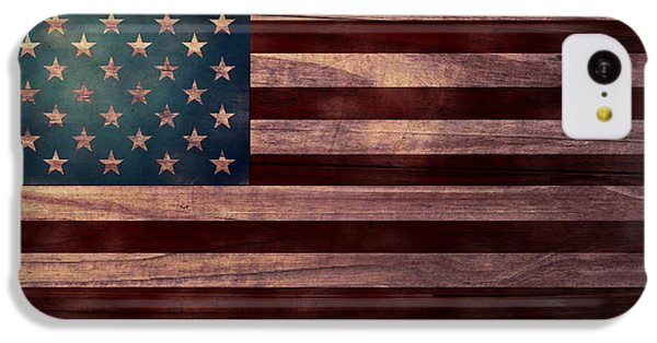 Folk Art iPhone 5c Case - American Flag I by April Moen