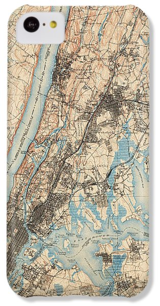 Harlem iPhone 5c Case - Antique Map Of New York City - Usgs Topographic Map - 1900 by Blue Monocle