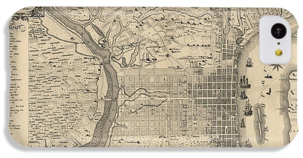 Antique Map Of Philadelphia By P. C. Varte - 1875 IPhone 5c Case by Blue Monocle