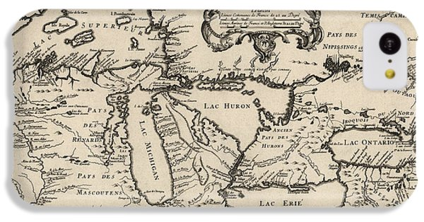Lake Michigan iPhone 5c Case - Antique Map Of The Great Lakes By Jacques Nicolas Bellin - 1755 by Blue Monocle