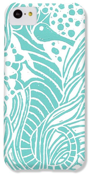 Aqua Seahorse IPhone 5c Case by Stephanie Troxell