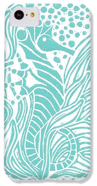 Seahorse iPhone 5c Case - Aqua Seahorse by Stephanie Troxell