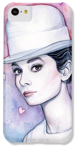 Audrey Hepburn Fashion Watercolor IPhone 5c Case by Olga Shvartsur