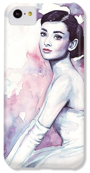 Audrey Hepburn Purple Watercolor Portrait IPhone 5c Case