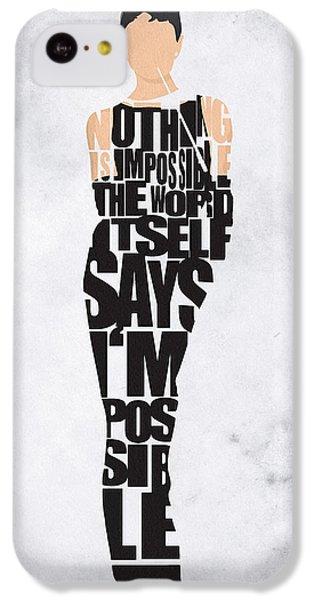 Audrey Hepburn Typography Poster IPhone 5c Case by Ayse Deniz