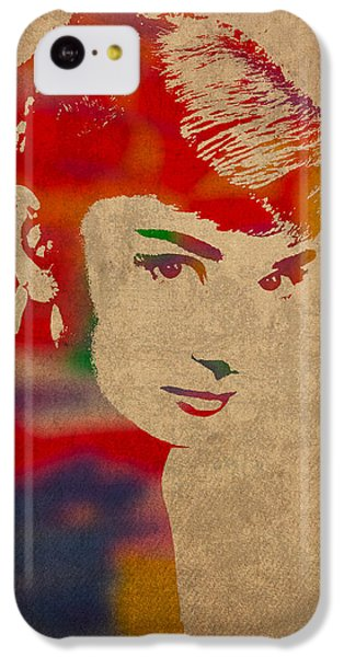 Portraits iPhone 5c Case - Audrey Hepburn Watercolor Portrait On Worn Distressed Canvas by Design Turnpike