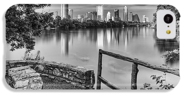 Austin Texas Skyline Lou Neff Point In Black And White IPhone 5c Case
