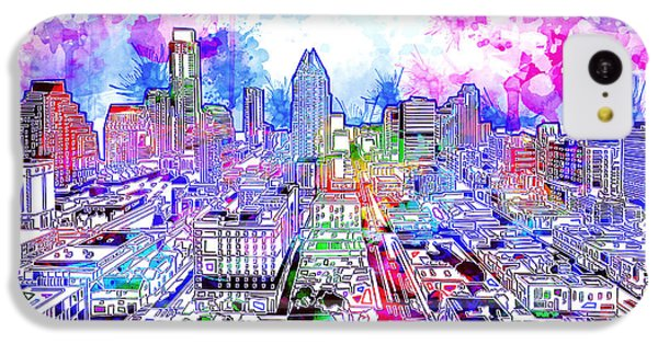 Austin Texas Watercolor Panorama IPhone 5c Case