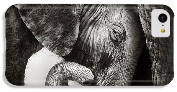 Small iPhone 5c Case - Baby Elephant Seeking Comfort by Johan Swanepoel