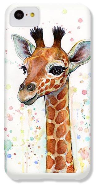 Baby Giraffe Watercolor  IPhone 5c Case by Olga Shvartsur