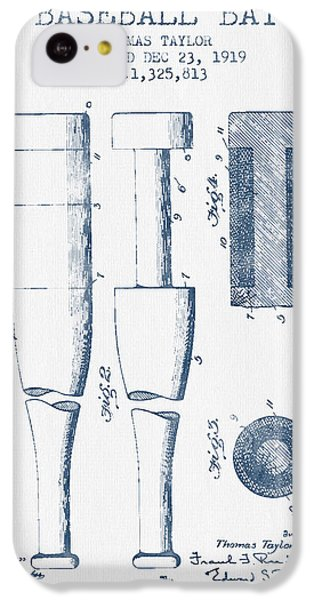 Baseball Bat Patent From 1919 - Blue Ink IPhone 5c Case by Aged Pixel