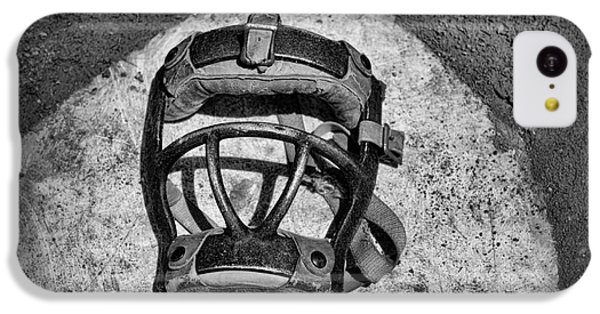 Baseball Catchers Mask Vintage In Black And White IPhone 5c Case by Paul Ward