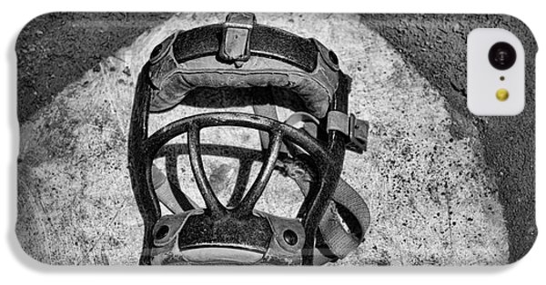Baseball iPhone 5c Case - Baseball Catchers Mask Vintage In Black And White by Paul Ward