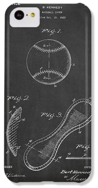 Baseball Cover Patent Drawing From 1923 IPhone 5c Case by Aged Pixel