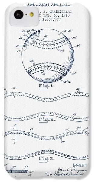 Baseball Patent Drawing From 1928 - Blue Ink IPhone 5c Case by Aged Pixel