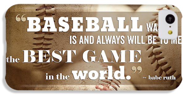 Baseball Print With Babe Ruth Quotation IPhone 5c Case by Lisa Russo