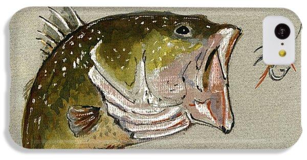 Smallmouth Bass iPhone 5c Case - Bass Fish Fly by Juan  Bosco