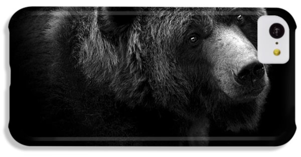 White iPhone 5c Case - Portrait Of Bear In Black And White by Lukas Holas