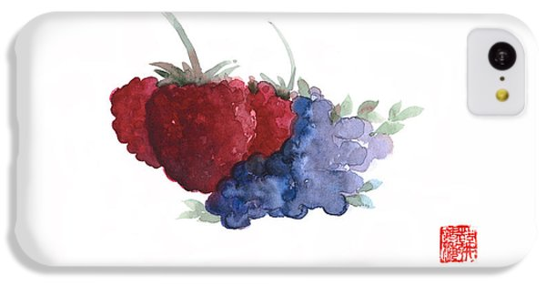 Berries Red Pink Black Blue Fruit Blueberry Blueberries Raspberry Raspberries Fruits Watercolors  IPhone 5c Case by Johana Szmerdt