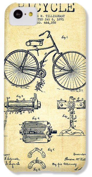 Bicycle iPhone 5c Case - Bicycle Patent Drawing From 1891 - Vintage by Aged Pixel