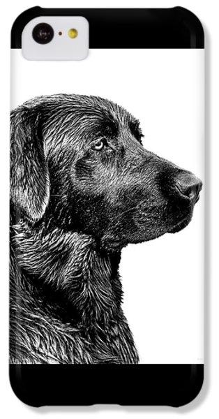 Dog iPhone 5c Case - Black Labrador Retriever Dog Monochrome by Jennie Marie Schell