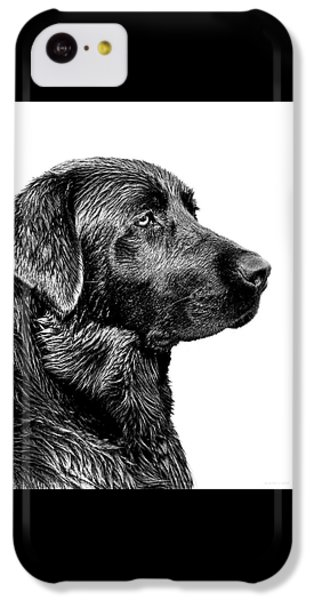 Dog iPhone 5c Case - Black Labrador Retriever Dog Monochrome by Jennie Marie Schell