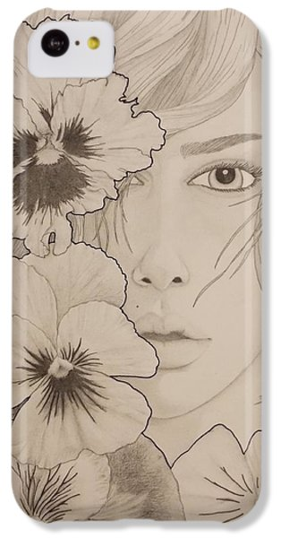 Scarlett Johansson iPhone 5c Case - Blooming Girl Pansy Refined by Aaron El-Amin