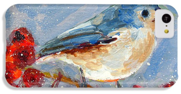 Blue Bird In Winter - Tuft Titmouse Modern Impressionist Art IPhone 5c Case