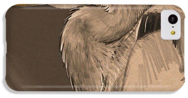 Heron iPhone 5c Case - Blue Heron Sketch by Aaron Blaise