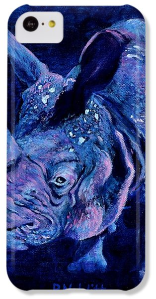 Indian Rhino - Blue IPhone 5c Case by Paula Noblitt