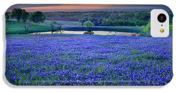 Bluebonnet Lake Vista Texas Sunset - Wildflowers Landscape Flowers Pond IPhone 5c Case