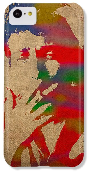 Bob Dylan Watercolor Portrait On Worn Distressed Canvas IPhone 5c Case by Design Turnpike