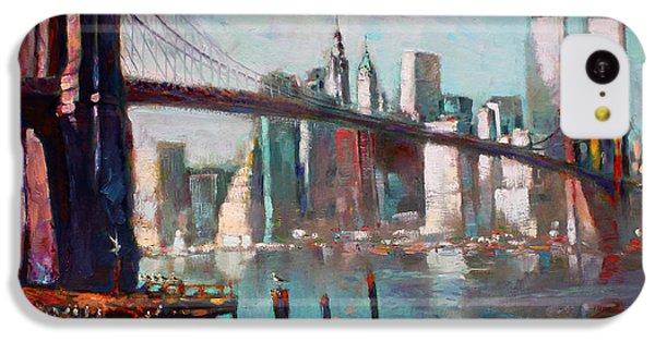 Seagull iPhone 5c Case - Brooklyn Bridge And Twin Towers by Ylli Haruni