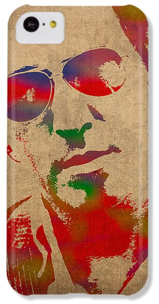 Musicians iPhone 5c Case - Bruce Springsteen Watercolor Portrait On Worn Distressed Canvas by Design Turnpike