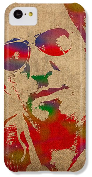 Bruce Springsteen Watercolor Portrait On Worn Distressed Canvas IPhone 5c Case by Design Turnpike