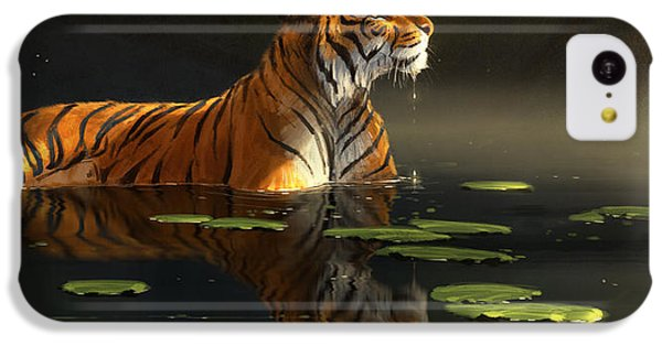 Tiger iPhone 5c Case - Butterfly Contemplation by Aaron Blaise