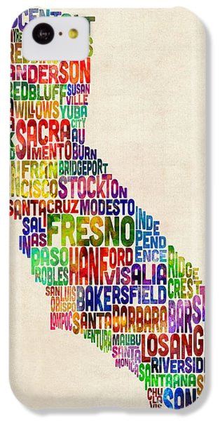 California Typography Text Map IPhone 5c Case by Michael Tompsett