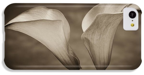 IPhone 5c Case featuring the photograph Calla Lilies In Sepia by Sebastian Musial
