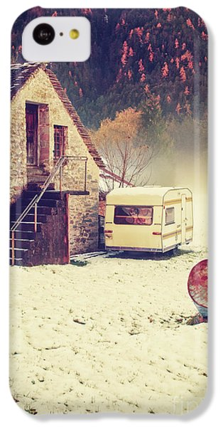 Caravan In The Snow With House And Wood IPhone 5c Case by Silvia Ganora