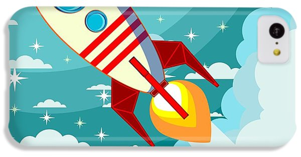 Fairy iPhone 5c Case - Cartoon Rocket Taking Off Against The by Alekseiveprev