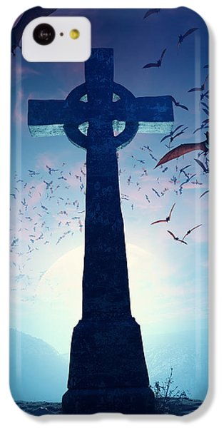 Celtic Cross With Swarm Of Bats IPhone 5c Case by Johan Swanepoel