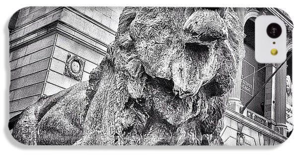 City iPhone 5c Case - Lion Statue At Art Institute Of Chicago by Paul Velgos