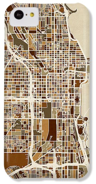 Grant Park iPhone 5c Case - Chicago City Street Map by Michael Tompsett