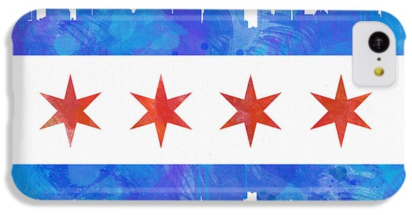 Chicago Skyline iPhone 5c Case - Chicago Flag Watercolor by Mike Maher