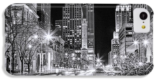 Chicago Michigan Avenue Light Streak Black And White IPhone 5c Case by Christopher Arndt